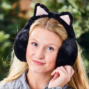 Black Fuzzy Cat Ears Earmuffs - Women NEW!